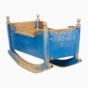 Antique Swedish Painted Pine Cradle