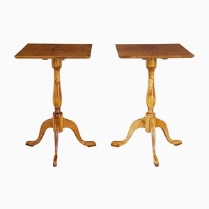 19th-Century Birch Tilt Top Occasional Tables, Set of 2
