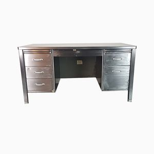 Vintage Industrial Polished Steel Desk, 1920s