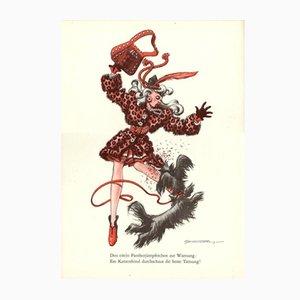 Poster Den eiteln Phanterjumpferchen zur Warnung vintage di E. Schoenenberger, anni '40
