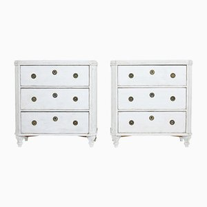 Antique Swedish Painted Chest of Drawers, Set of 2