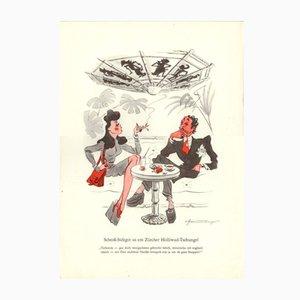 Póster Shtoss-Sufzger us em Zurcher-Holliwud-Tshungel vintage de E. Schoenenberger