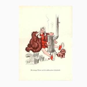 Vintage Den eiteln Phanterjumpferchen zur Warnung Plakat von E. Schoenenberger, 1940er