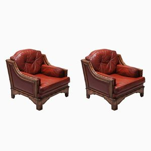 Italian Bamboo & Red Leather Easy Chairs from Vivai del Sud, 1970s, Set of 2