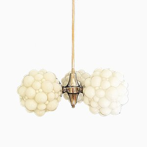 Opaline Glass Chandelier by Helena Tynell for Limburg, 1960s