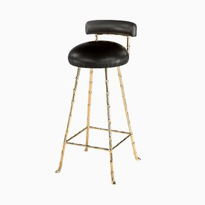 High Upholstered Bar Stool with Back Rest by Rose Uniacke