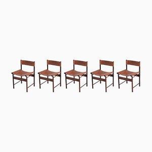 Esszimmerstühle aus Bambus & rotem Leder von Jorge Zalszupin für L'atelier Brazil, 1955, 5er Set