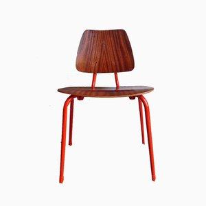 Vintage Kinderstuhl aus Holz & orangenem Metall