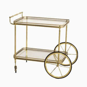 Serving Trolley in Brass and Glass from Maison Baguès, 1950s
