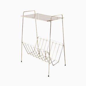 German Brass Side Table with Magazine Rack, 1960s