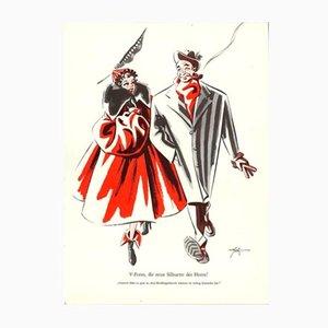 Poster V-Form die neue silhuette des Hernn vintage di E. Shoenenberger, anni '40