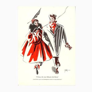 Vintage V-Form die neue Silhuette des Hernn Plakat von E. Shoenenberger, 1940er