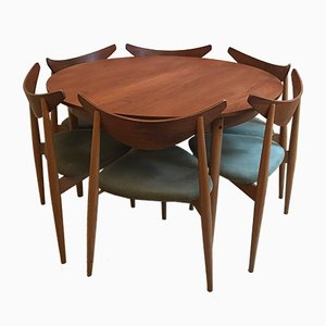 Beech & Teak Tripod Table & 6 Chairs by Richard Young for G-Plan, 1960s
