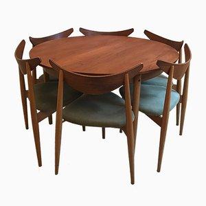 Tavolino tripode in faggio e teak con sei sedie di Richard Young per G-Plan, anni '60