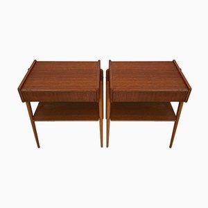 Tables de Chevet en Teck de AB Carlstrom & Co., 1960s, Set de 2