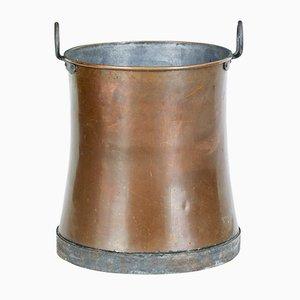 Large Copper Antique Log Bin