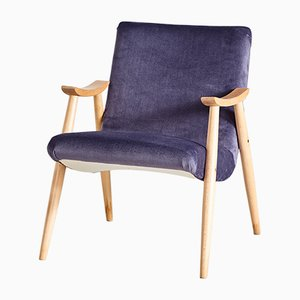 Beech & Purple Fabric Armchair, 1970s