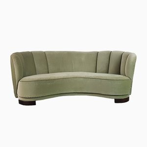 Vintage Danish Green Velvet Banana Sofa