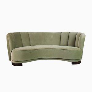 Vintage Danish Green Velvet Banana Sofa