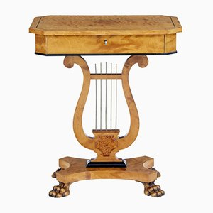 Antique Birch Lyre Form Occasional Table