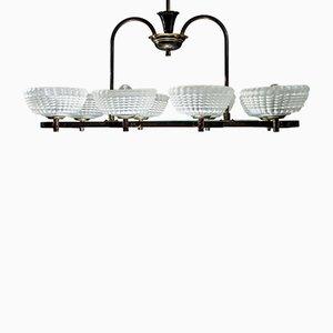 Lámpara de araña de cristal de Murano y latón de Ercole Barovier para Barovier & Toso, años 40