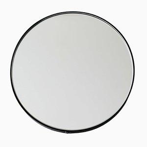 Specchio rotondo Orbis argentato con cornice nera di Alguacil & Perkoff