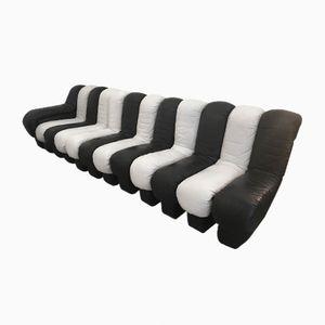 Sofa aus schwarzem und weißem Leder von Ueli Berger für de Sede, 1972