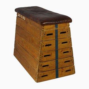 Banco caja de gimnasio de cuero, años 50