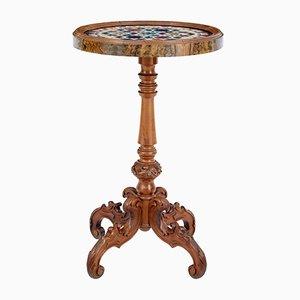 Tavolino antico in noce con ripiano in marmo