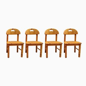 Esszimmerstühle aus solidem Pinienholz von Rainer Daumiller, 1960er, 4er Set
