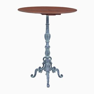 French Cast Iron and Mahogany Bistro Table, 1920s
