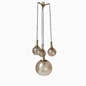 Brass & Crackled Amber Glass Pendant Light from Doria Leuchten, 1950s