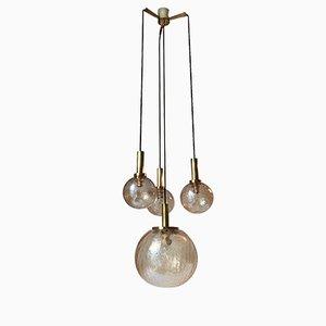 Lampe à Suspension en Laiton & Verre Ambré Craquelé de Doria Leuchten, 1950s
