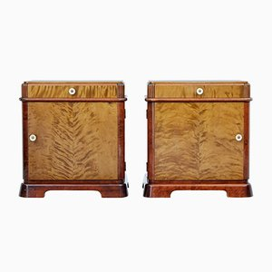 Vintage Scandinavian Birch Bedside Cabinets, 1940s, Set of 2