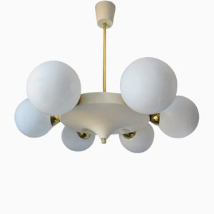 Mid-Century Opaline and Brass Chandelier, 1960s