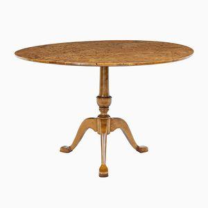 Runder antiker Tisch aus Wurzelholzfurnier mit kippbarer Platte, 1880er