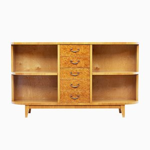 Mid-Century Burr Birch Low Open Bookcase Cabinet