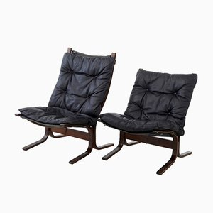 Mid-Century Norwegian Leather Lounge Chairs, Set of 2