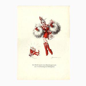 Poster V-Ein Modell match einen bestechun gsversuch zum 70. Geburstag des Nebelsparters vintage di E. Shoenenberger, anni '40