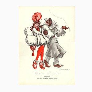Póster V-Happi-end Daysi Tupfi Hula Wumba grussen als Verlobte vintage de E. Shoenenberger, años 40