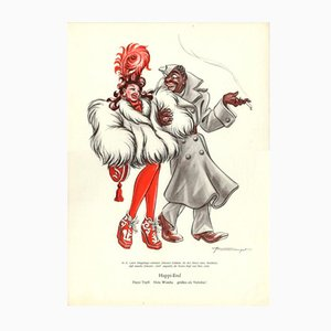 Vintage V-Happi-end Daysi Tupfi Hula Wumba grussen als Verlobte Plakat von E. Shoenenberger, 1940er