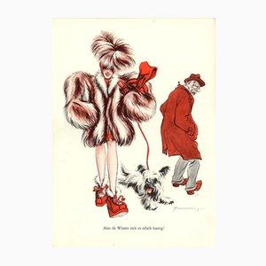 Vintage V-Also dä Winter isch es eifach haarig Plakat von E. Shoenenberger, 1940er