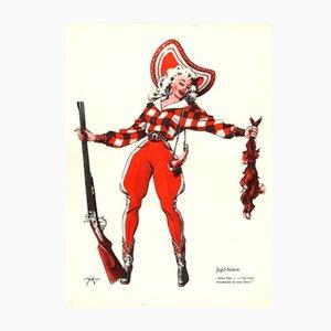Vintage V-Jagd-Saison Plakat von E. Shoenenberger, 1940er