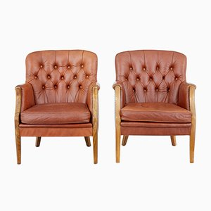 Mid-Century Elm and Leather Armchairs, 1950s, Set of 2