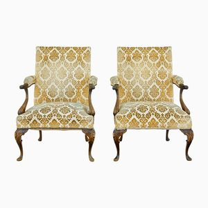 French Carved Lounge Chairs, 1920s, Set of 2