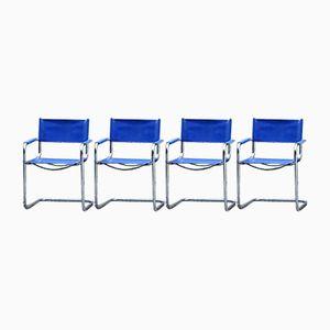 Armlehnstühle aus blauem Leder, 1980er, 4er Set
