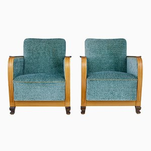 Mid-Century Scandinavian Elm and Birch Armchairs, Set of 2