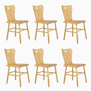 Mid-Century Scandinavian Pine Dining Chairs, Set of 6