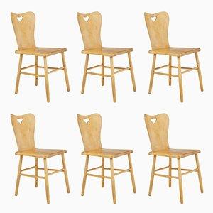Skandinavische Mid-Century Esszimmerstühle aus Pinienholz, 6er Set