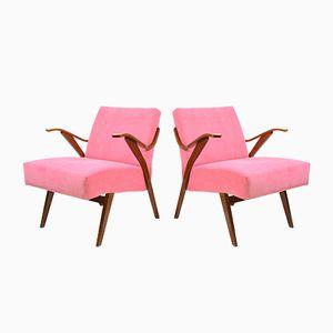 Tschechoslowakische Vintage Armlehnstühle mit pinkem Bezug, 1960er, 2er Set